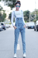 Wholesale Fashion Womens Jumpsuit Denim Rompers With Pocket Light BLue Skinny Pencil Jean Overalls For Women AY537
