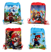 Wholesale Newest Kids Birthday Gift Super Mario Drawstring Bags Mochila Infantil Sided Printing Backpack For Boys Cartoon Schoolbag