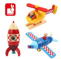 Cheap Wholesale-Magnetic removable magnetic model airplane helicopter rockets hands puzzle wooden toys for children