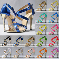 Cheap Wholesale-Summer Womens Fashion Sexy High Heels Ankle Strap Stilettos Platform Sandals Pumps 4-11