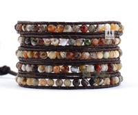 beaded layered bracelets - Exclusive Faceted Lined Agate Strands Handmade Leather Wrap Bracelet Multi Layered Vintage Bracelet stacked bracelets
