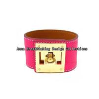 beaded lizard bracelet - Charming Pink Color Genuine Leather Wrap Bracelet Finest Lizard Line Calfskin Leather With K Gold Clasp Fashion Women Bracelet