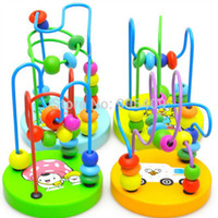 Wholesale Retail New Baby Kids Early Educational Toy Colorful Wooden Mini Around Beads Wire Developmental Math Toys Gift