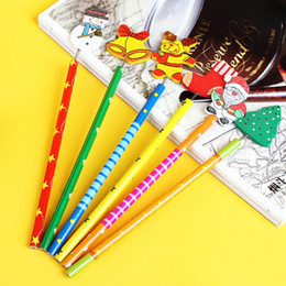 Wholesale set Santa Snowman Tree Bell Cartoon Wooden Pencils Christmas Gifts For Children
