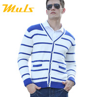 Cheap Wholesale-Knitting yarn jersey cashmere sueter sin mangas hombre Preppy Style men cardigan Cotton Single Breasted Striped xxxl men sweater