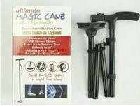 achat en gros de bâton gros led-Gros-Cadeaux Pour Elder 85-95CM poignée en T réglable 4 mixte pliant Canne magique avec des lumières LED, Noir Canne Fit Randonnée Escalade