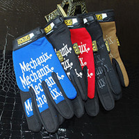 Wholesale Fashion Man Men Garden Work Mechanics Sports Long finger DIY Original Recing Gloves color Size