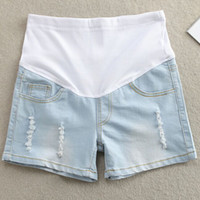 Cheap Wholesale-2015 New Briefs Light Blue Worn out Denim Shorts for Pregnant Women Summer Maternity Shorts Ripped Jeans
