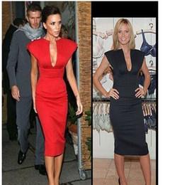 Wholesale Summer Sexy Club bandage victoria beckham dress Spring Women Deep V neck bodycon Celebrity dresses Black Blue Red BX1118