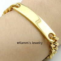 Wholesale Never Fade Men s ID Bracelet Stainless Steel K Gold Bracelets For Men cm mm High Quality KB001A