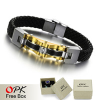 Wholesale OPK JEWELRY Luxury Genuine leather braid Bracelet bangle man gold L stainless steel with Carbon fiber