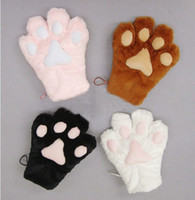 Cheap Wholesale-Cat Foot Paw Gloves Cute Cosplay Gloves Fancy Neko Anime Kitty Party Costume Claw Glove Black Brown Pink White