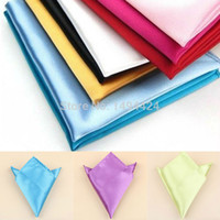 Wholesale Popular Decent New Mens Satin Pocket Square Hankerchief Hanky Plain Solid Color Suit Decoration