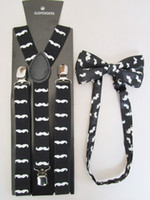 Cheap Wholesale-Free Shipping 2015 New Fashion Women Black Mustache Printed Suspenders And Bow Ties Sets