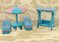 Cheap Wholesale-Cute Summer Swimming Beach Playing Sets for Sylvanian Families Kids Baby Toys DollHouse Miniature Furniture Minecraft Chairs