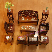 Cheap Wholesale-free shipping 1 12 new arrival miniature dollhouse furniture mini wood Chinese dragon print 10 pieces set