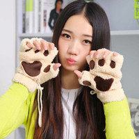 Wholesale Cute Fluffy Bear Cat Plush Paw Gloves Thermal Gloves Women Lady s Half Covered Gloves Winter Warmer Mittens Retail