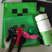 Wholesale Minecraft Creeper Party Supplies Set Paper Cups Paper Plates Balloons Gift Bag Cartoon Festive Birthday DHL