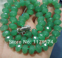 aa emerald - and retailGreen x8mm Emerald Faceted Roundel Beads Necklace quot AA WJ149