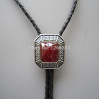 Wholesale Original Antique Silver Plated Vintage Red Agate Octagon Bolo Tie Per