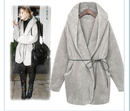 Wholesale-New Fashion 2015 Autumn Winter UK Big Plus Size High Street Women's Winter Warm Hoodie Down Warm Outerwear Cardigan Jacket