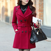 Wholesale Women Woollen Long Coat Winter New Spring Autumn Fashion Plus Size Warm Cotton Thick Double Breasted Belt Overcoat WWN639