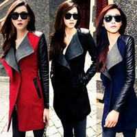 leather trench coat - New Fashion Womens Long Warm Wool Jacket PU Leather Zipper Long Sleeve Jacket Coat Outwear Trench Windbreaker