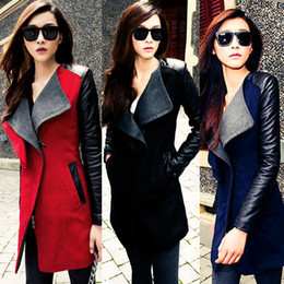 Wholesale-New 2015 Fashion Womens Long Warm Wool Jacket PU Leather Zipper Long Sleeve Jacket Coat Outwear Trench Windbreaker Free Shipping