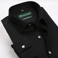 Cheap Wholesale-2015 Spring New 100% Cotton Diamond Buttons Solid Black White Dress Shirts Fashion Faux Silk Long-sleeve Mens Business Shirt