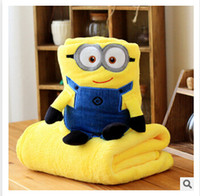Wholesale Air Conditioning Blanket Pillow Despicable Me Cartoon minions Siesta Child Car Cushion Blanket Coral Fleece Blankets Christmas Gifts m0549