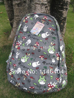 free shipping anime - Japanese anime hayao miyazaki totoro backpack printed canvas bag series totoro leisure backpack bag