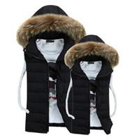 Wholesale Winter brand Outdoor men down cotton vest mens waistcoat colete masculino chaleco sleeveless jacket hooded casual fur vest coat