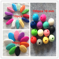 beads and stone necklace - in mm bead and Stone peadant and flat oval beads silicone Teething Necklace pendant nursing bead