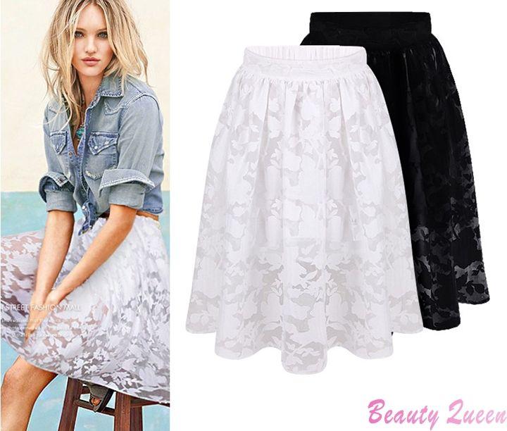 2017 Woman Summer Skirts Womens 2015 Fashion White Black Lace Wild ...