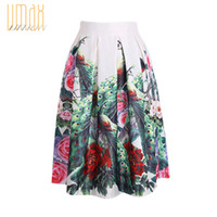 Wholesale New Spring Summer Vintage Chinese Style Peacock Floral Print Pleated Midi Skater Skirt Ruffles Empire For Women Girl