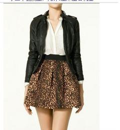Women's Stylish Leopard Elastic Waist Skirt With Side Zipper