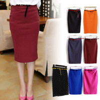 american apparel belts - 2015 New Candy Color Sexy Bodycon High Waist Slim Hip Midi Skirt Pencil Skirt With Belt Sash faldas saias jupe american apparel