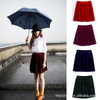 american apparel velvet - New fashion winter American Apparel womens clothes College Wind retro velvet loose high waist short skirts