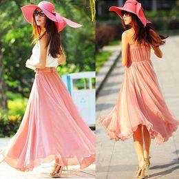 New Summer Womens Full Circle Chiffon Long Maxi Skirt Pleated Long Skirt Boho Free&Drop Shipping