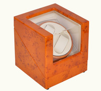 Wholesale promotional hot selling Orange colors square automatic wooden watch winder for watch