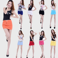 Wholesale Sexy Jeans Skirts - Women's multicolour candy slim hip bust skirt shorts jeans sexy a-line denim miniskirt
