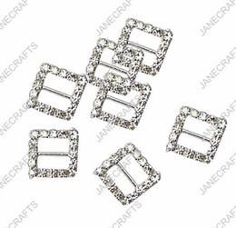 15mm 30pcs Square Rhinestone Buckle Invitation Ribbon Slider For Wedding Supply Silver Color rhinestone bikini connectors