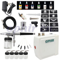 air brush ink - OPHIR Air Brush Paint Airbrush Compressor Kit with Colour Body Paint Ink amp Stencil Templates Spare Bottles_OP BP001W