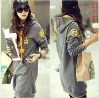 Wholesale 2015Korean version of the new fall and winter long maternity hoodies with cap letters pattern pregnant women coat