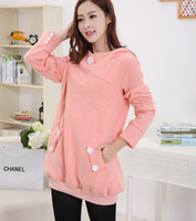 Wholesale 6013 New Autumn and Winter Maternity Hooded Coat Clothes for Pregnant Women Plus Velvet Sweatshirt Outerwear Clothing