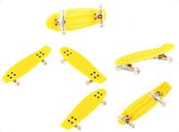 aluminum skateboard trucks - Finger skateboards small board fingerboard PU board aluminum alloy trucks indoor sports novelty items yellow color