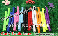 Wholesale New Arrival pair Curly Elastic Laces Spring Elastic Laces No Tie Elastic Shoelaces colors available DHL