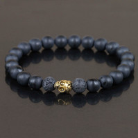 Grossiste - Bracelet Perles en Agate Noir Mat, Bijoux en Bracelet de Crâne d'Or, Bracelet en Perles de Roche de Lava Noire, Bracelet extensible