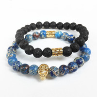 Vente en gros-2015 nouveau design de haute qualité des hommes bijoux 8mm pierre de lave noire et de la mer bleu sédiment pierre perle avec bracelet en or 24 carats
