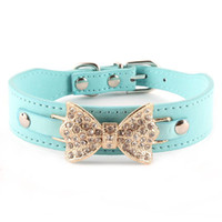 basic knotted - Pet Dog PU Leather Collar Puppy Bling Crystal Rhinestone Bow knot Buckle Choker